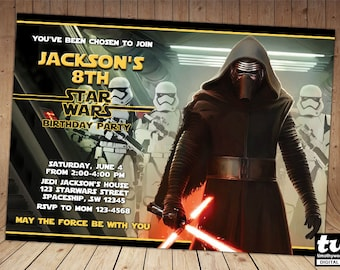 Kylo Ren Star Wars The Force Awakens Birthday Invitation