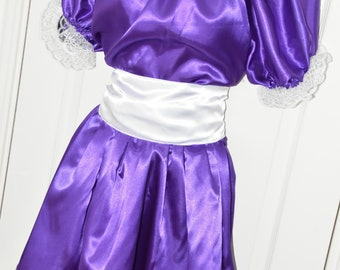 Silky purple satin sissy dress, buttery soft with wide flowing skirt Sissy Lingerie