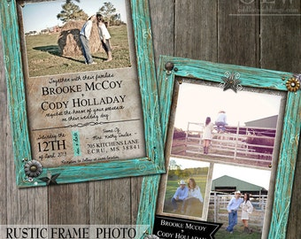 Turquoise Frame Wedding Invitation, Country Rustic Wedding Invite, Printable Photo wedding stationery, Rustic Invitation, Outdoor Wedding