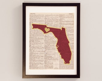 Florida State Dictionary Art Print - Tallahassee Art - Print on Vintage Dictionary Paper - Florida State University Seminoles - FSU