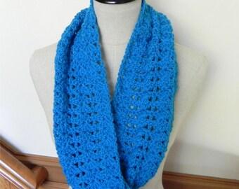 True blue crocheted infinity scarf, crochet cowl scarf is ready to ship, blue crochet scarf #496