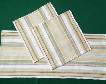 Vintage linen woven coffee set Table runner and two placemats table mat table toppers Set of 3