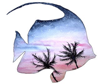 Tropical Fish Watercolor, Fish Art, Palm Tree Watercolor, Palm Tree Art, Sunset Art, Ocean Life, Coastal Art, Beach Painting, Beach Print