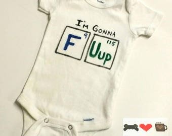 F U Up Periodic Table Nerdy Baby Bodysuit