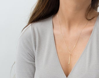 Simple, Everyday Necklace: 14K Gold Fill Bar, Sterling Silver, Rose Gold Layering Necklace / Vertical Bar / by Layered and Long LN120_30_V