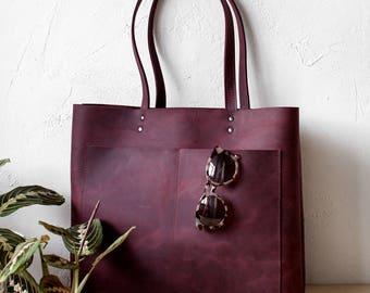 Large Burgundy Distressed Leather Tote bag, genuine leather bag, travel bag, shopper tote, front pocket bag, school bag
