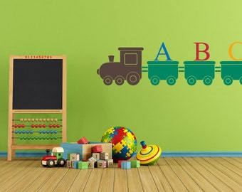 Nursery Wall Decal   ABC Train Wall Decal Removable Wall Art Sticker