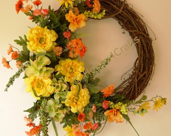 Summer Wreath, Large Rustic Wreath, Yellow Orange  Hydrangea Wildflowers Wreath