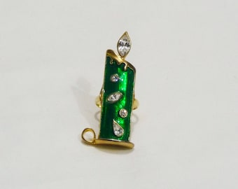 OOAK Vintage Christmas Candle Statement Ring