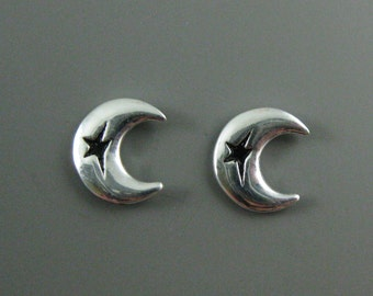 Sterling Silver Earrings - Silver Moon Stud Earrings, Tiny Silver Studs - Wholesale Bulk Silver Earrings -9mm - Sku: 203058