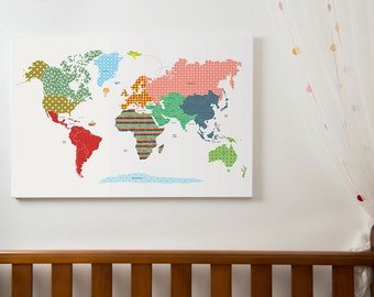 World map poster, large world map print, kids world map with countries, world map wall art, world map canvas, WM301B