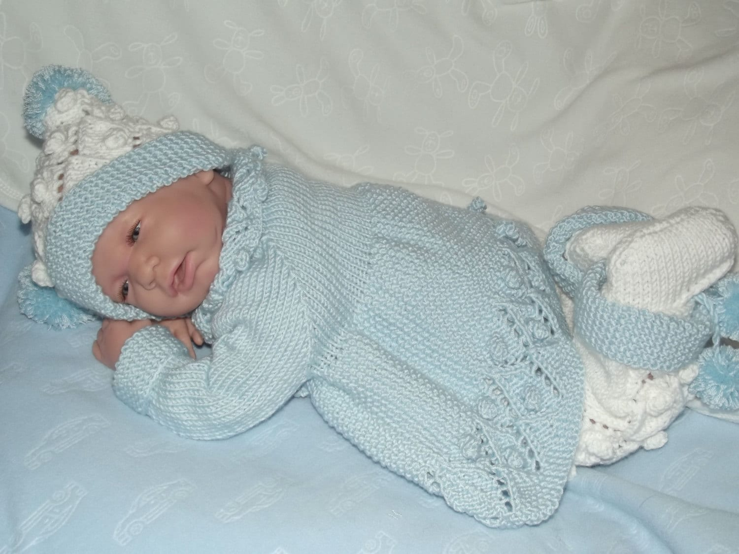 Knitting PATTERN No.25 Newborn Baby Boy\'s Bobble Matinee