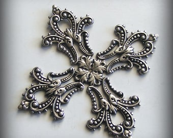 Oxidized Sterling Silver Plated Filigree Focal Maltese Cross 40mm (1 pc) X239-VJS F-A1647