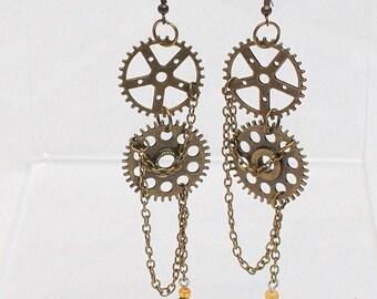 Steampunk Earrings with gears Steam Punk Ear Rings
