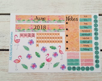 Mini Happy Planner June Monthly Kit, Tropical, Flamingo, June, Summer