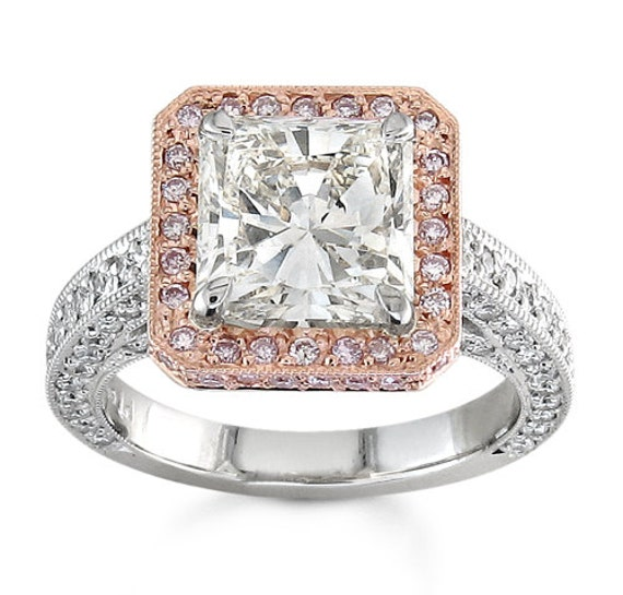 Ladies Platinum Pave Halo Engagement ring with 14kt rose gold