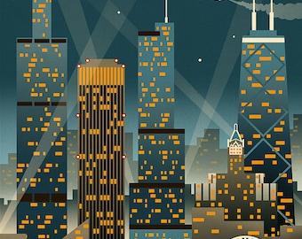 Chicago Illinois - Retro Skyline (Art Prints available in multiple sizes)