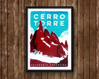 Cerro Torre hand printed silkscreen poster - El Chaltén - Patagonia Argentina
