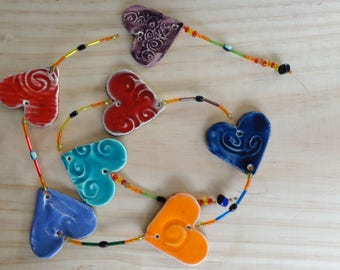 Valentines Day gift idea Garland of 7 hearts in ceramics, enamels, wall decor, unique piece