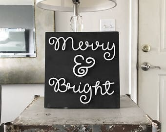 Merry & Bright - Christmas Laser Cut Sign