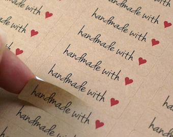 80 HANDMADE WiTH LOVE labels with RED Heart - made with love stickers - 1/2 x 1 3/4 inch kraft, white or clear gloss stickers