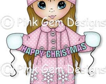 Digital Stamp Christmas Grace. Cute Girl. Christmas Cards. Card Making. Paper Craft. Digital Scrapbooking. Invitations. Digi Stamp