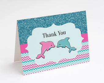 Dolphin Thank You Card, Dolphin Birthday Party, Girls Dolphin Birthday Party, Ocean Birthday Party, Instant Download