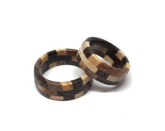 Wooden ring - elm walnut maple