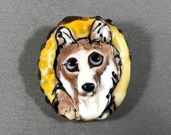 NEW!  Dog Focal Lampwork Glass Bead