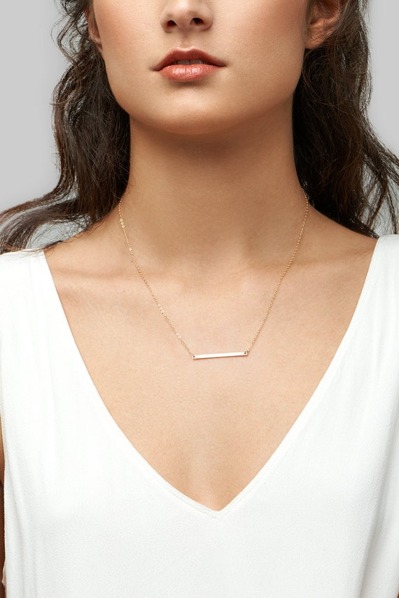 Dainty Bar Necklace . Skinny Bar Necklace . Gold Layering Necklace In 14kt Gold Fill, Sterling Silver, Rose Gold Fill H235 by Etsy