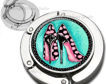 Whimsical Pink and Black Polka Dot High Heel Shoes Purse Hook Bag Hanger Lipstick Compact Mirror