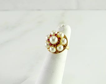 Pearl & Ruby Rose Gold Ring 14K