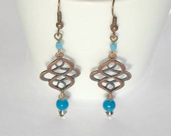 Earrings ethnic style - turquoise and copper metal scrollwork