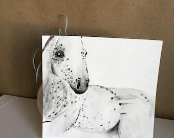Handmade Watercolor Painting, Neutral Horse, Minimalist Art Print