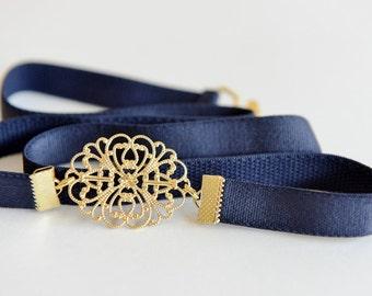 Dress belt, Bridesmaids Belt, Navy Blue Belt, Wedding Accessory, Dainty belt, Waist Belt, Gold Belt, Jeweled Belt, Skinny Belt, Elastic belt