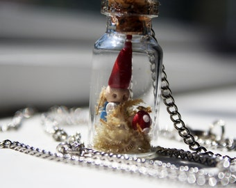 Whimsical Garden Gnome in a Bottle Necklace