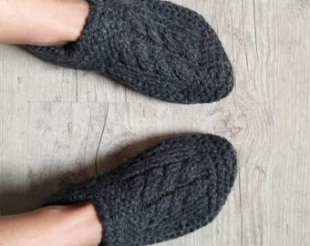 Hand knitted wool slippers