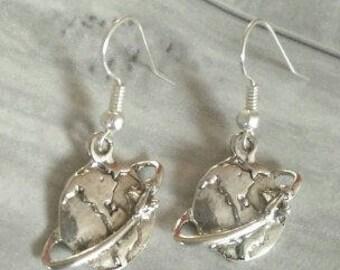Globe Earrings, Planet Earrings, Wanderlust Earrings, Travel Inspired Earrings, Earth Jewellery, Planet Jewellery, Airplane Earrings