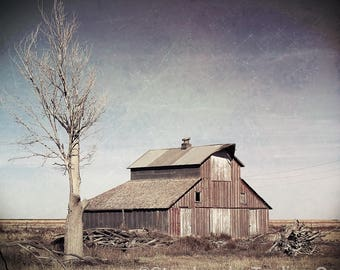 LOST TREASURE 1910's Abandoned Barn on Pasture Great Rustic Architecture Ethereal Haunting Historical Structure Digital Print Your Way Art