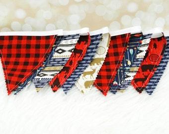 "Fabric Bunting Decoration ""Lumberjack""  Nursery Decor, Party Decoration, Fabric Flag Bunting, Flag Garland, Fabric Garland, Fabric Pennant"