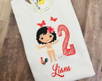Moana birthday shirt with name for girl
