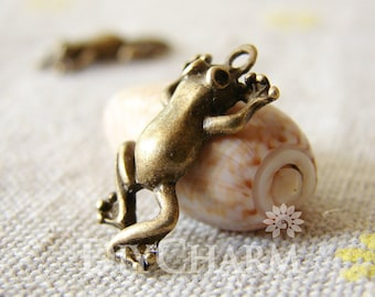 Antique Bronze Tone Jumping Frog Pendant 20x12mm - 10Pcs - DC23823