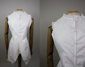 Victorian Cotton Combinations / Victorian CamiKnickers / Cotton Pantaloons / Open Crotch Step In / All In One / Size Small / XS S
