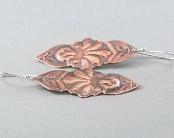 Copper Art Nouveau Earrings, Stamped Earrings, Embossed Earrings, Dangle Earrings, Boho Earrings, Gypsy Earrings, Gift for Her,