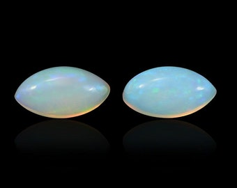 Ethiopian Opal Loose Gemstones Set of 2 Marquise Cabochon 1A Quality 6x3mm TGW 0.20 cts.