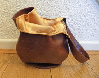 Brown Leather Bag, Japanese Knot Bag, Vegan Leather Bag,Faux Leather Purse, Gold Satin Lined