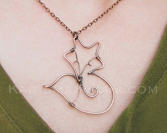 Fox Necklace. Oxidized Copper. Wire Jewelry