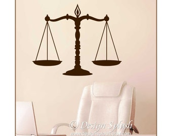 SCALES Of JUSTICE Vinyl Wall Decal, Courtroom Wall, Lawyer Decal, Attorney Decor, Judge Decal S-131