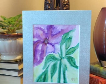 Purple abstract watercolor flower painting