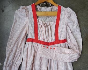 SALE Vtg 70's White Red Swiss Flocked Dot Handmade Peasant Gunne Sax Prairie Folk Dress Cotton Ruffle Size Small to XS